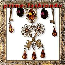 Dolce Gabbana Gold-Plated Key Charms Swarovski Crystal Necklace Photo