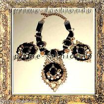 Dolce & Gabbana Gold Plated Oversized Black Color Swarovski Crystals  Necklace  Photo