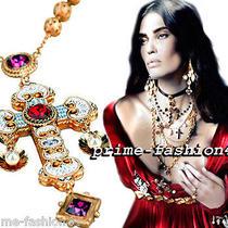 Dolce & Gabbana Gold-Plated Swarovski Crystal  Filigree Cross Rosary Necklace Photo