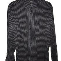 Dolce & Gabbana Mens Black Gray White Stripe Dress Shirt Classic Fit 16 41cm Photo