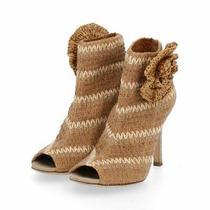 Dolce & Gabbana Open-Toe Booties Raffia Beige Brown Stretch Corsage Photo