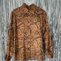 Dolce & Gabbana Paisley Silky Shirt Size Large d&g Brown Satin Print Button Down Photo