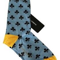 Dolce & Gabbana Socks Mens Blue Yellow Cotton Nylon Clover Pattern S. M Rrp 120 Photo