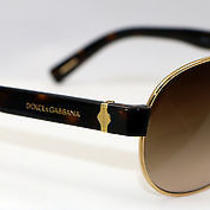Dolce & Gabbana Sunglasses Dg 2117  02/13 Gold Aviator/brown Grad  New Authentic Photo