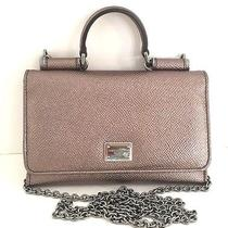 Dolce & Gabbana Textured Leather Iphone Wallet on a Chain Crossbody Bag Bronze Photo