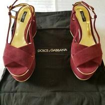 Dolce Gabbana Women Authentic Burgundy Wedges Sandals Shoes Size 39. Us Size 9 Photo