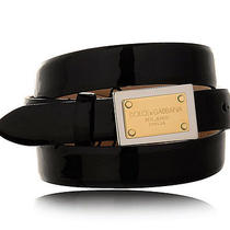 Dolce & Gabbana Womens Black Patent Leather Logo Plate Belt 30 (32) New D0053 Photo