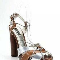 Dolce & Gabbana Womens Leather Ankle Strap Sandal Heels Brown Silver Size 39.5 9 Photo