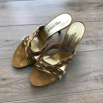 Dolce Gabbana Womens Size 7 Mustard Yellow Sandals Kitten Heels Leather in Italy Photo