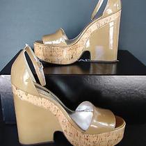 Dolce Gabbana Zeppa Vernice Cork Wedge Size 38 Beige Patent Leather  Photo