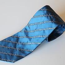 Dolce & Gabbanna Tie Metallic Blue Dark Blue White. Made in Italy Photo