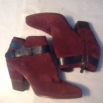Dolce Vita Ankle Booties Size 8.5 M Red Suede With Strap Photo