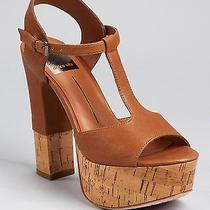 Dolce Vita Baxter New 245 Brown Leather Cork Heel Sandal Wedge Platfor Shoe 8.5 Photo