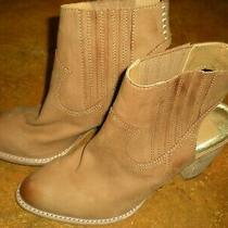 Dolce Vita Beautiful Ankle Booties Block Heel Open Back Suede Tan Leather Size 8 Photo