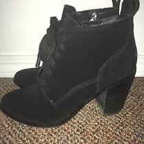 Dolce Vita Black Faux Suede Lace Up Chunky Heel Ankle Boots Booties Size 7 Photo