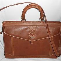 Dolce Vita Brown Leather Briefcase W/shoulder Strap Photo