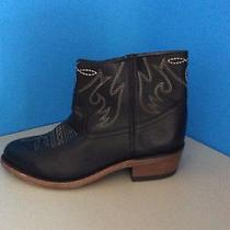 Dolce Vita Camilla Black Leather Western Ankle Boots Size 6m New Photo