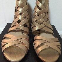 Dolce Vita Campbell Gold Metallic Suede Womens Zipper Strappy Sandals 8.5 M Photo