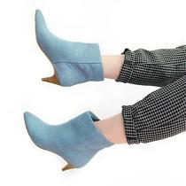 Dolce Vita Deedee Blue Denim Kitten Heel Pointed Ankle Booties Boots Size 7.5 Photo