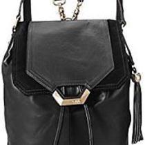 Dolce Vita Glazed Leather Fashion Backpack Black One Size Photo