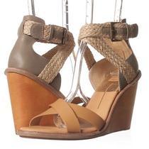 Dolce Vita Jarona Womens Size 8.5 Caramel Leather Ankle Strap Wedge Sandals Photo