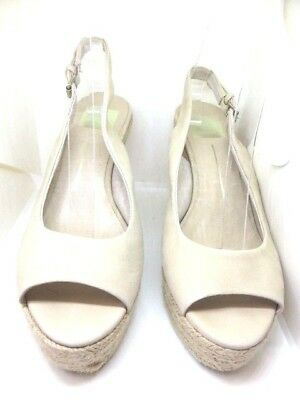 Dolce Vita Suede Leather Wedge Sandal Espadrilles Nude Tan Gold Shoes 7  $120 Photo