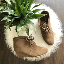 Dolce Vita Taupe Tan Wedge Lace Up Suede Bootie Shoe Womens Size 7 Photo