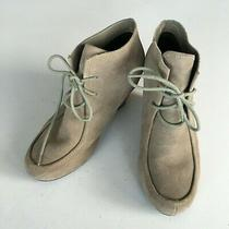Dolce Vita Wedge Ankle Boots Botties Suede Lace Up Grey Taupe Womens Size 7 Photo