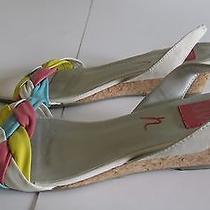 Dolce Vita White Leather Slingback Wedge Sandals Women's Sz 8 Photo