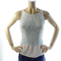 Dolce Vita Women's 0 Lace Embroidered Silk-Blend Flare Tank White/light Blue Photo
