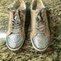 Dolce Vita Zaga Lace Up Shoes Blush Nude Pink Suede Glitter Sneakers Women's 7.5 Photo