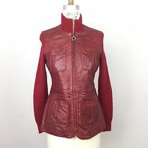 Doma Womens Leather Jacket Sz S Red Knit Sweater Sleeves Wool Zip Up  Photo