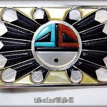 Don Dewa Spinner Belt Buckle Native American Indian Art - Onyx Mother of Pearl  Photo
