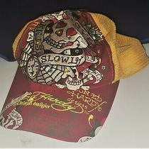 Don Ed Hardy Baseball Cap Love Kills Slowly Hat Embroidered Yellow Red Design Photo