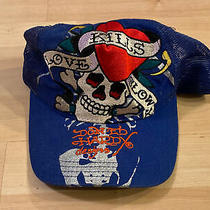 Don Ed Hardy Snapback Hat Cap Mesh Blue Trucker Skull Photo