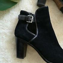 Donald J Pliner 11 Peep Toe Heels New Black Suede Zip Up Booties  Photo