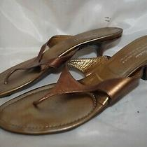 Donald J Pliner 11m Paula Sandal Kitten Heel Mules Bronze Leather Shoe Italy Photo