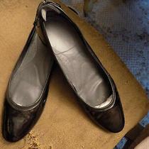 Donald J Pliner Arlene Black Patent Leather Ballet Flats Sz 8.5 Back Tie Bows Photo
