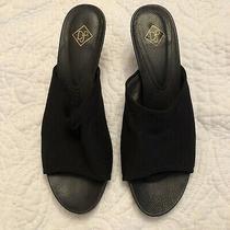 Donald J Pliner Bety Black Fabric Mules Slip on Open Toe High Heel Sandal 8.5 M Photo