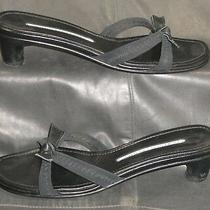 Donald J Pliner Black Fabric Open Toe Slip on Slide Mule Sandal Womens Shoes 6 M Photo