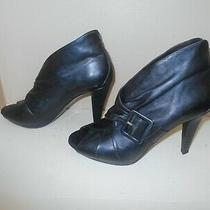Donald J Pliner Black Leather Ankle Heels Shoes Women's 8 1/2 M Made in Italy Photo