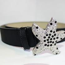 Donald J Pliner Black Leather Belt W/ Silver & Crystal Starfish Buckle - Size M Photo