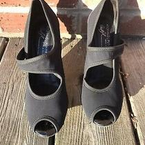 Donald J. Pliner Black Leather Peep Toe Heels 8 Photo