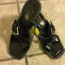 Donald J. Pliner Black Leather Sandals Heels Coach  6/7 Womans Summer Tory Shoe Photo
