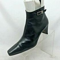 Donald J Pliner Black Leather Side Zip Heeled Ankle Boots Booties Size 7.5 M Photo