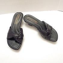 Donald J Pliner Black Leather Toe Ring Sandals Size 6 1/2 M Photo