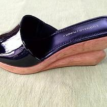 Donald J Pliner Black Patent Leather Wood Wedge Platform Slides Sandals Shoes Photo