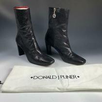 Donald J Pliner Black Pitone Snakeskin Print Leather Boots 8 1/2 Medium Photo