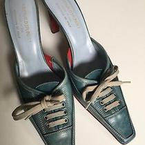 Donald J Pliner Blue Lace Up Ladies Mule Slip on Italy Size 8.5 Preowned Photo