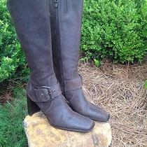 Donald J Pliner Boots Berget Brown Ladies Size 8.5n Italy Distressed Leather Euc Photo